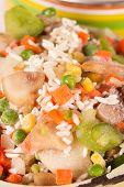foto of saucepan  - Frozen vegetables in an old enamel saucepan before cooking - JPG