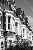 picture of edwardian  - Black and white monochrome photograph of Victorian terraced town houses in London - JPG