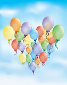pic of helium  - Celebration Birthday card with colored balloons - JPG
