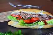foto of baguette  - Healthy Tuna Baguette With Lettuce - JPG
