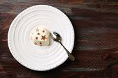 stock photo of dessert plate  - Tasty panna cotta dessert on plate - JPG