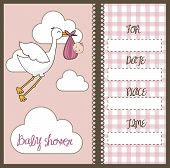 picture of stork  - pink baby shower card with stork and baby - JPG