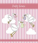 stock photo of stork  - pink baby shower card with storks and babys - JPG