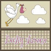 pic of stork  - brown baby shower card with stork with baby - JPG