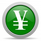 picture of yen  - yen green glossy web icon  - JPG