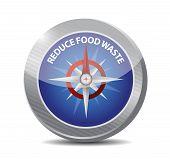 image of reduce  - reduce food waste compass sign concept illustration design over white background - JPG
