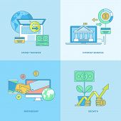image of internet-banking  - Set of line concept icons with flat design elements for internet banking - JPG