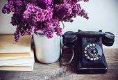 foto of rotary dial telephone  - Home interior decor - JPG