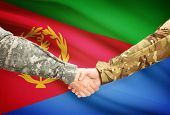 image of eritrea  - Soldiers shaking hands with flag on background  - JPG