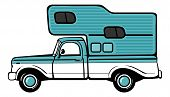 picture of camper  - Classic retro camper shell on pickup truck - JPG