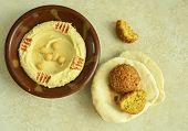 picture of pita  - Bowl of Hummus - JPG