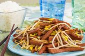 image of spam  - Hawaiian stir fry made with spam and bean sprouts - JPG