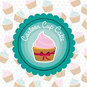 stock photo of cupcakes  - basic cupcake label on bottom of cupcake pattern - JPG
