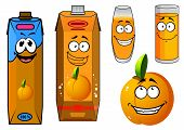 pic of orange-juice  - Colorful cartoon orange juice and fruit characters with two different cartons - JPG