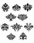 stock photo of embellish  - Black floral embellishments and design elements in retro medieval style for design aand ornate - JPG