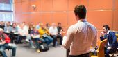 stock photo of audience  - Speaker at Business Conference with Public Presentations - JPG