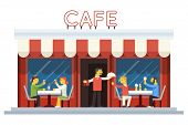 image of waiter  - Cafe Building Facade Customer People Eating Drinking Waiter Serving Dish Icon Background Flat Design Vector - JPG