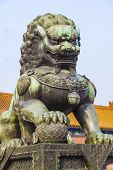 stock photo of guardian  - Ming Dynasty guardian lion at Palace of Heavenly Purity in the Forbidden City in Beijing - JPG