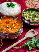 foto of paneer  - Photo of an Indian meal of Butter Chicken rice and Saag Paneer - JPG