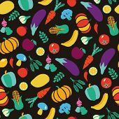 stock photo of vegetable food fruit  - Vector colorful Background with Healthy Food Vegetables and fruits Eco Food pattern - JPG