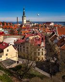 image of olaf  - Aerial View of Tallinn Old Town and Olaviste Church from Toompea Hill Tallinn Estonia - JPG