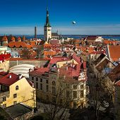 stock photo of olaf  - Aerial View of Tallinn Old Town and Olaviste Church from Toompea Hill Tallinn Estonia - JPG