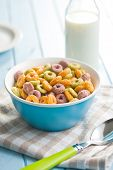 image of cereal bowl  - the colorful cereal rings in bowl - JPG