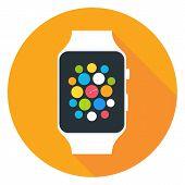 foto of watch  - Smart Watch Flat Stylized Circle Icon - JPG