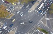 stock photo of intersection  - Top down view of an intersection in a city - JPG