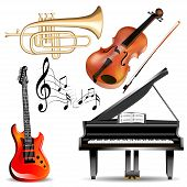 image of trumpets  - illustration set of musical instruments trumpet violin piano and guitar with notes - JPG