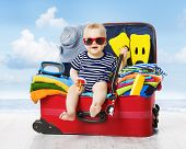 Baby In Travel Suitcase. Kid Inside Luggage Packed For Vacation Full Of Child Clothes poster