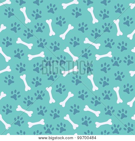Animal seamless  pattern of paw footprint and bone