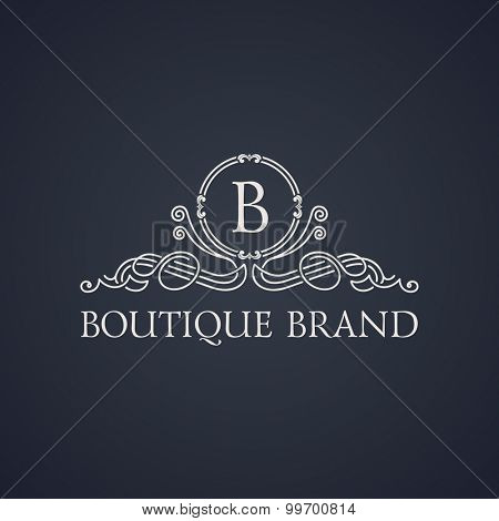 Vintage luxury emblem. Elegant Calligraphic pattern on vector logo. Black and white monogram B