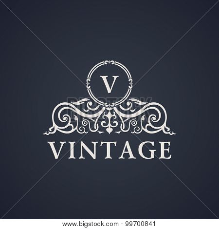 Vintage luxury emblem. Elegant Calligraphic pattern on vector logo. Black and white monogram V