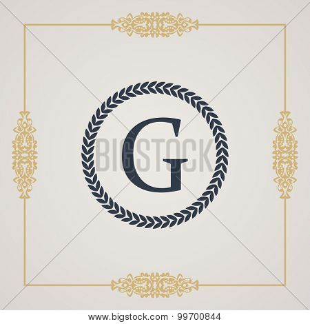 Vintage luxury emblem. Elegant Calligraphic pattern on vector logo. Round monogram G