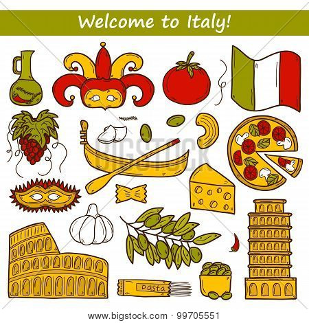 Set of cartoon objects in hand drawn style on Italy theme: gondla, food, mask, pisa, coliseum, olive