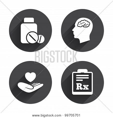 Medicine icons. Tablets bottle, brain, Rx.