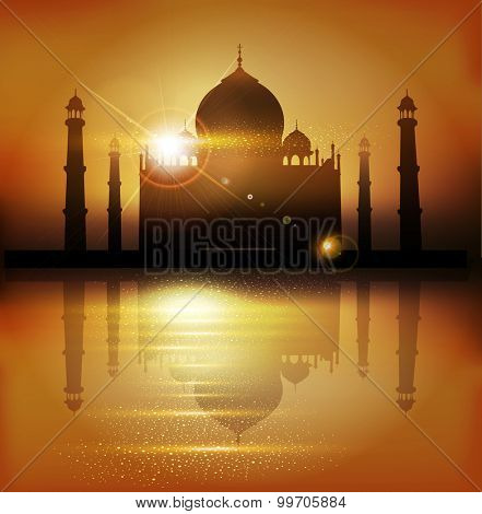 background with mosques and minarets to the holiday Mubarak
