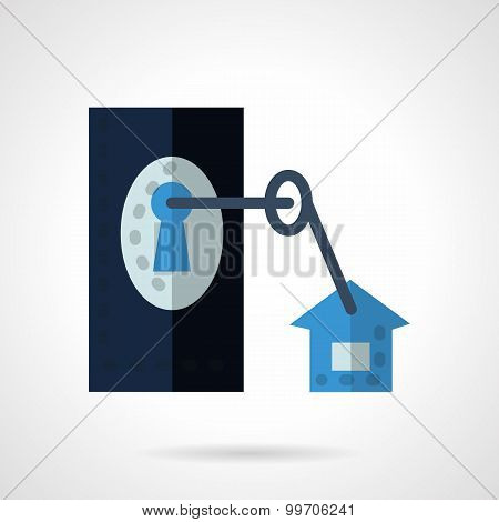 Lock with key flat vector icon