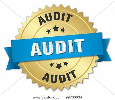 Audit 3D Gold Badge With Blue Ribbon