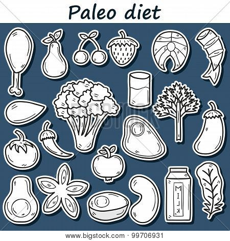 Set of stickers in hand drawn style on paleo diet theme: meat, fish, fruits, vegetables, spices, nut