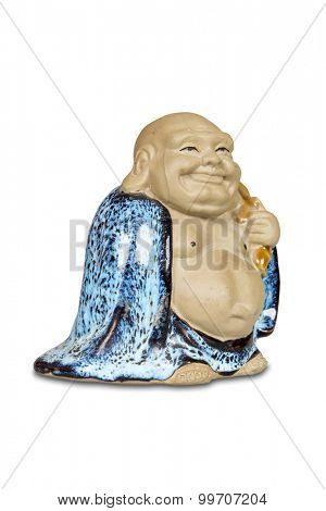 Chinese statue of Happy Buddha isolated with clipping path.