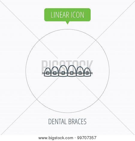 Dental braces icon. Teeth healthcare sign.