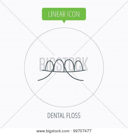 Dental floss icon. Teeth cleaning sign.