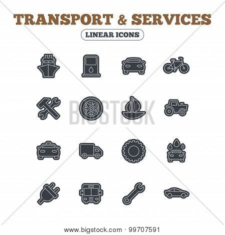 Transport, services icons. Ship, car and bus.