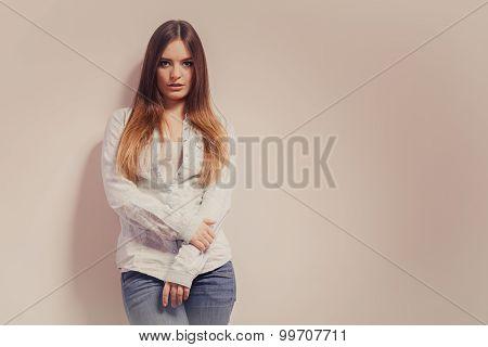 Fashionable Woman In Shirt Denim Pants