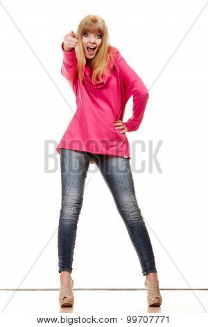 Woman Pink Blouse Pointing You With Finger