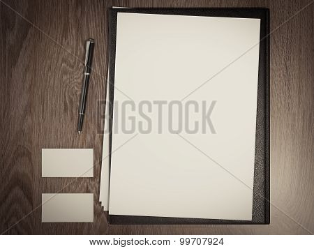 Black File With White Blank Sheet