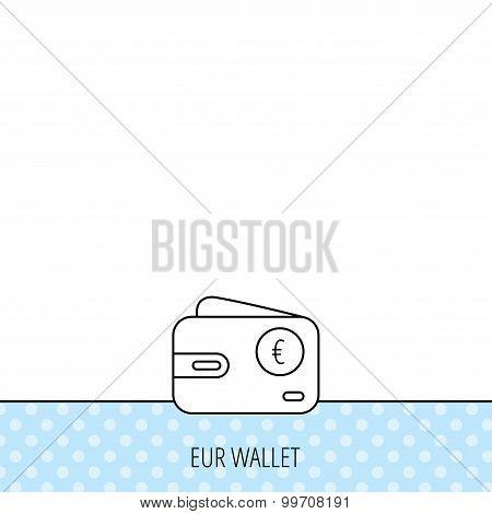Euro wallet icon. EUR cash money bag sign.