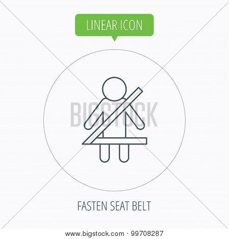 Fasten seat belt icon. Human silhouette sign.